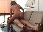 Office orgy on a sofa with hot wife railing jizz-shotgun in cowgirl position